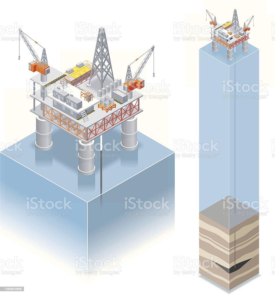 Isometric, oil drilling platform royalty-free stock vector art
