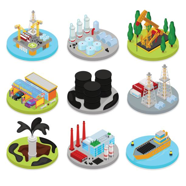 i̇zometrik petrol endüstrisi. endüstriyel tesis, platform - kule stock illustrations