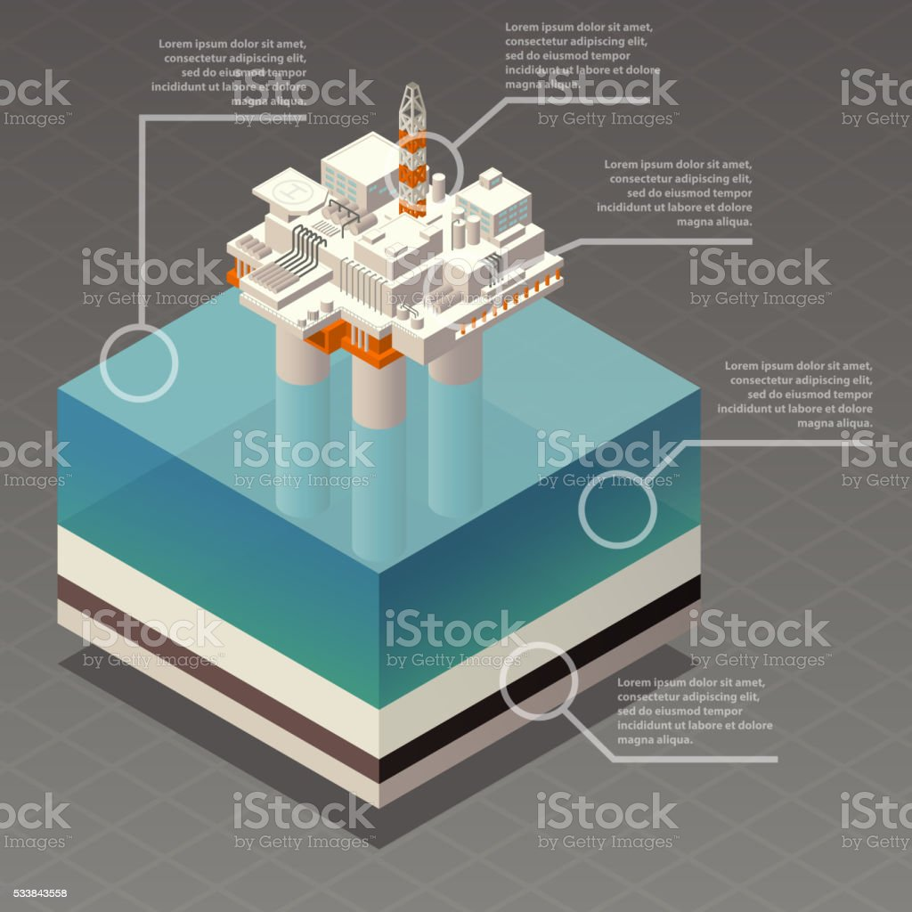 Isometric oil platform rig infographic vector art illustration