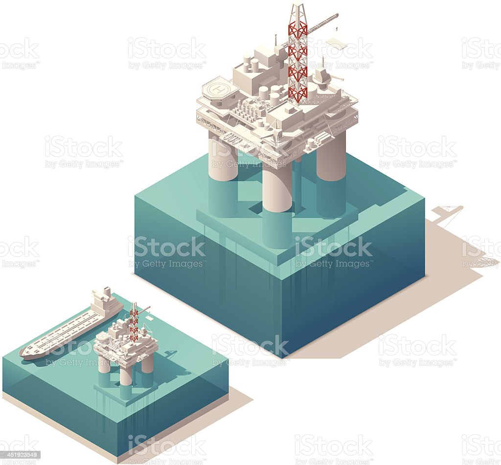 Isometric oil platform vector art illustration