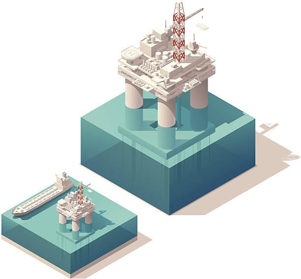 isometric oil platform - kule stock illustrations