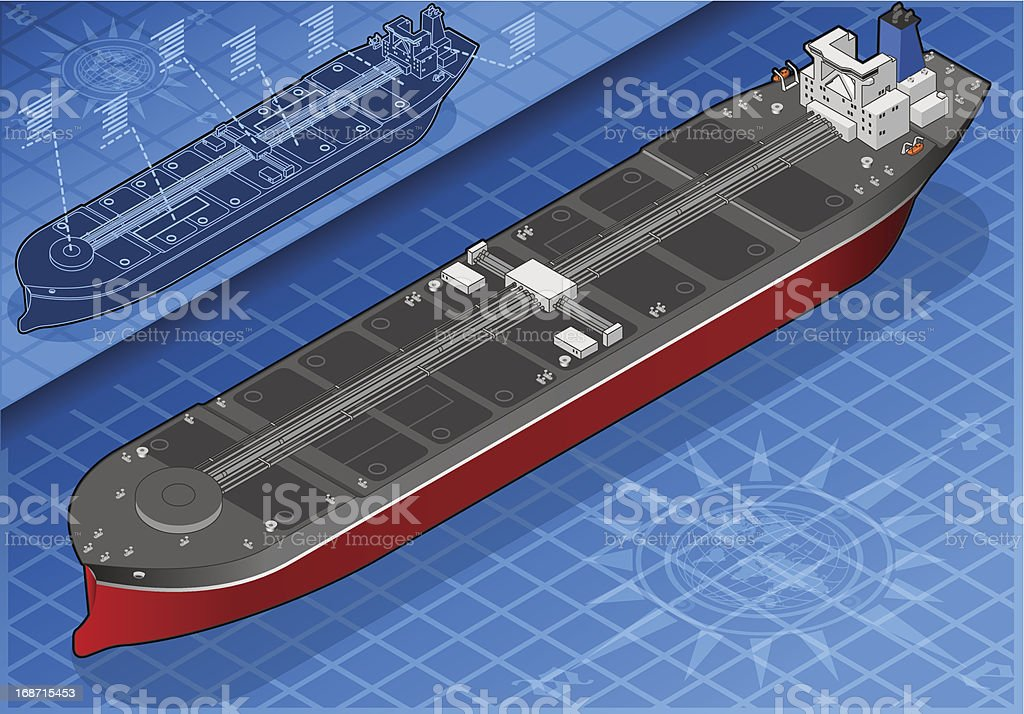 Isometric oil tanker front view schematics vector art illustration