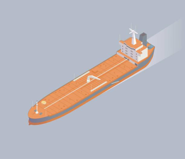 Isometric oil tanker ship illustration vector art illustration