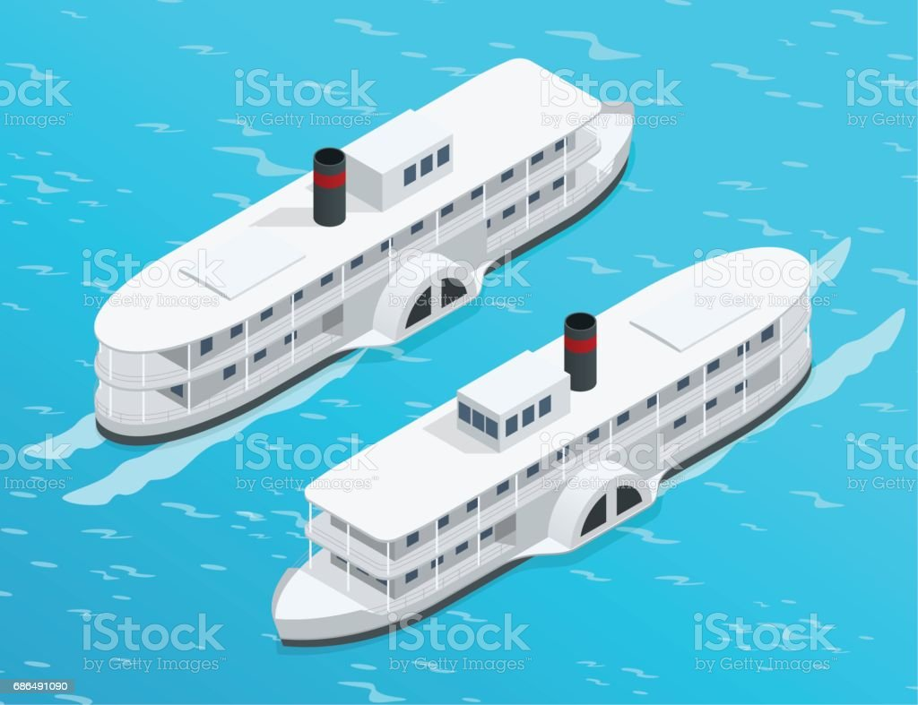 isometric old paddle steamer ship on the river water transport