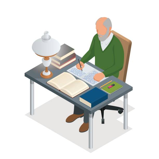 isometric old people or senior man. the old man sits at a table with books and a lamp and writes. isolated on white background - old man sitting chair drawing stock illustrations, clip art, cartoons, & icons