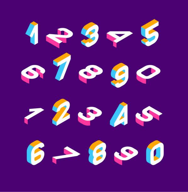 아이소메트릭 olored 3 차원 숫자. 3 차원 알파벳입니다. 낮은 폴 리 3d 캐릭터입니다. 벡터 일러스트입니다. - 숫자 stock illustrations