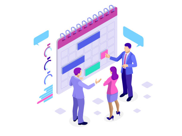 Isometric online business schedule, planning schedule, news, reminder, and events concept. Vector illustration Isometric online business schedule, planning schedule, news, reminder, and events concept Vector illustration agenda stock illustrations