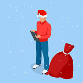 Isometric Online Christmas Shopping. Delivery man in Santa Claus hat with Christmas present. Delivery man with boxes. Express Christmas shipping