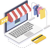 Isometric online clothes store.Online shopping and consumerism concept.