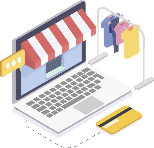isometrische online-bekleidungsgeschäft. online-shopping und konsum concept.3d vektor-illustration - stoffmarkt stock-grafiken, -clipart, -cartoons und -symbole