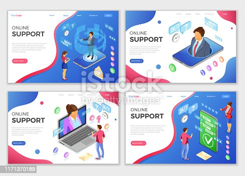 Online isometric customer support landing web page templates. Horizontal banners call center smartphone, laptop with female, male consultant, headset, rating, chat icons. isolated vector illustration