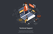 Isometric Online customer technical support concept. Mobile call center with female consultant, headset, chat icons. landing page template. Vector illustration.