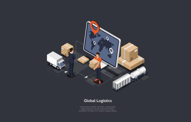 stockillustraties, clipart, cartoons en iconen met isometrische online wereldwijde logistieke netwerk illustratie iconen. set van cargo trucking, vervoer per spoor. on-time levering ontworpen om grote aantallen vracht te vervoeren. vector illustratie. - versturen