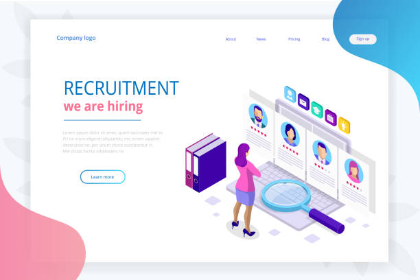 Isometric online job search and human resource, recruitment concept. We are hiring. Presentation for employment and infographics for recruiting. Template website Landing page. Isometric online job search and human resource, recruitment concept. We are hiring. Presentation for employment and infographics for recruiting. Template website Landing page recruiter stock illustrations