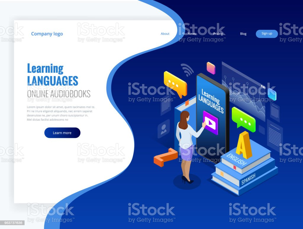Isometric Online Language Learning Interface and Teaching Concept. Online language school lifestyle. Education Concept. Vector illustration vector art illustration