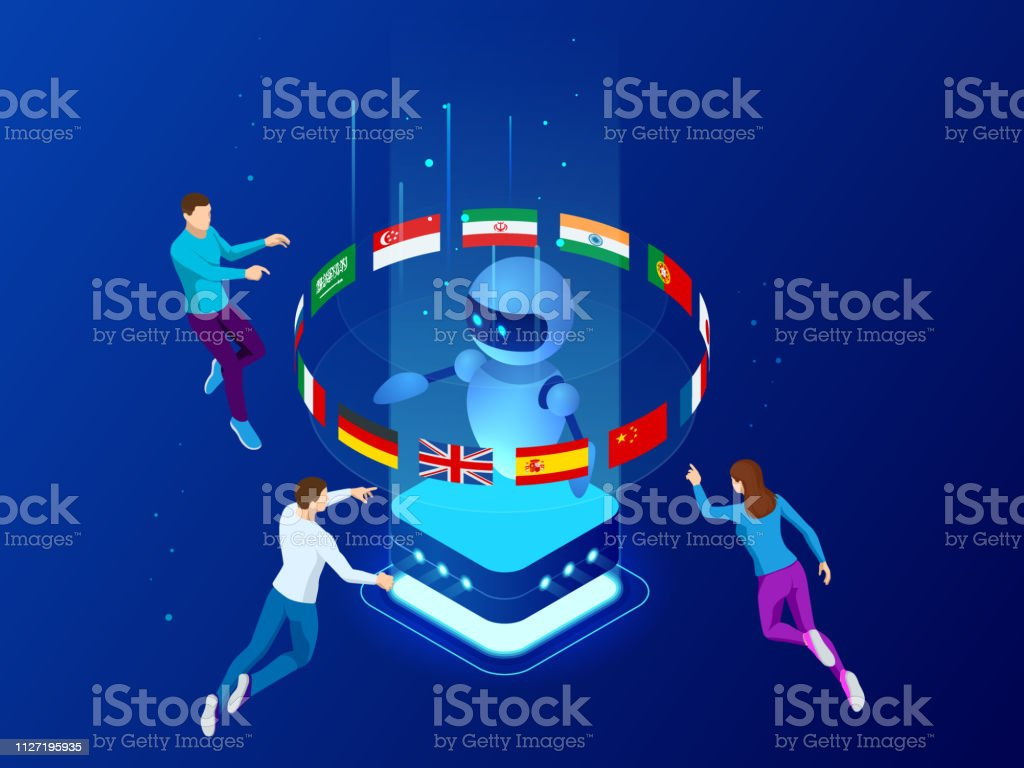 Isometric online language learning with artificial intelligence or Science teacher bot concept. Online language school lifestyle. Education concept vector art illustration