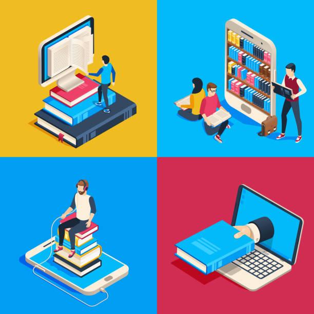 ilustrações, clipart, desenhos animados e ícones de biblioteca em linha isométrica. alunos lendo livros sobre smartphone, estudando a ciência livro e lerem o livro no leitor do vetor 3d ilustração - bibliotecas