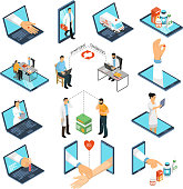 Online medical consultations diagnosis treatment from professional doctors network with laptop smartphone isometric icons collection vector illustration