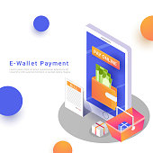 Isometric, online payment from app concept by e-wallets with bucket, gift items and bill preview.