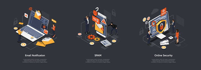 Isometric Online Security, Spam, Email Notifications And Data Protection. Developers Are Creating Malware Protection For Customer From Negative Emails And Computer Viruses. Vector Illustrations Set