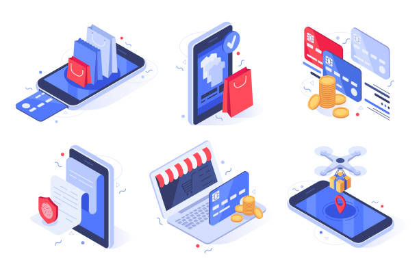 Isometric online shopping. Internet store business, digital commerce and bank card payment vector illustration set vector art illustration