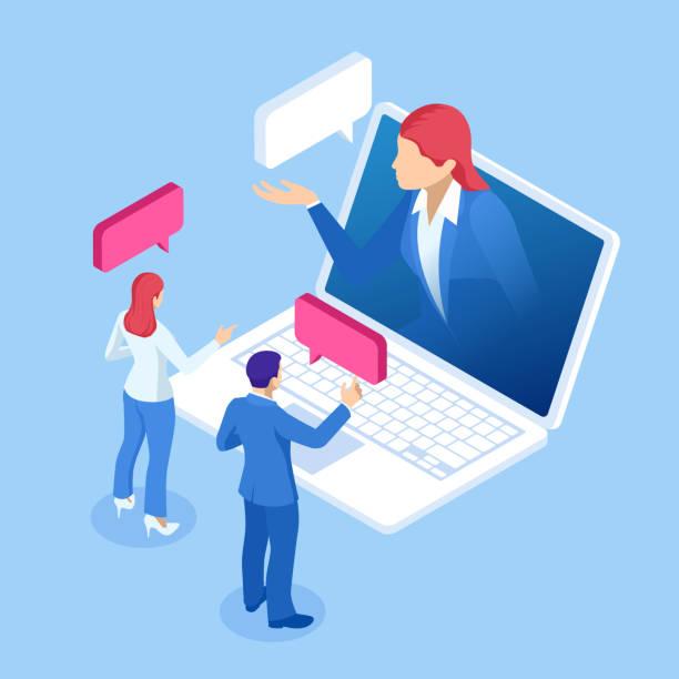bildbanksillustrationer, clip art samt tecknat material och ikoner med isometrisk online virtuell assistenttjänster och artificiell intelligens koncept. chat bot och framtida marknadsföring. ai och business iot. - client meeting
