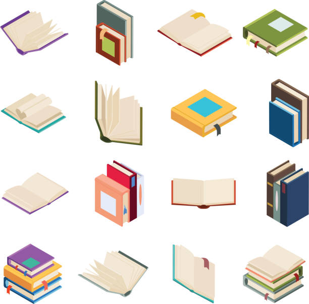 Isometric open books stack isolated education reading icons set 3d flat design vector illustration Isometric open books stack education isolated reading icons set 3d flat design vector illustration encyclopaedia stock illustrations