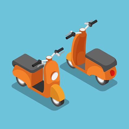 Isometric orange scooter or motorcycle.