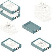 A vector illustration icon set of in and out trays for business - with paper documents and financial graphs.