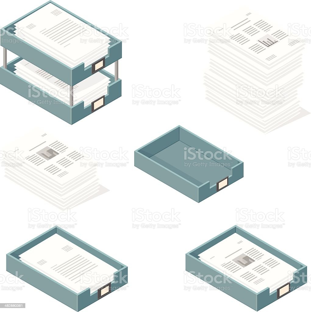 Isometric Outbox and Inbox Trays with Paper Documents vector art illustration