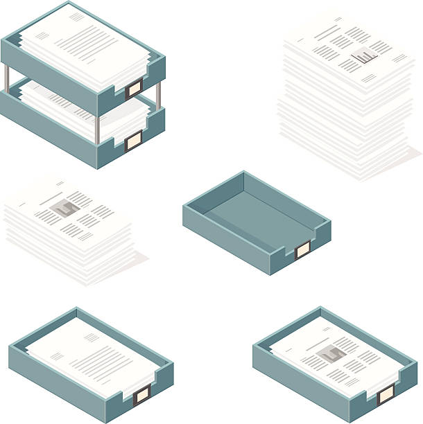 Isometric Outbox and Inbox Trays with Paper Documents A vector illustration icon set of in and out trays for business - with paper documents and financial graphs. stack stock illustrations