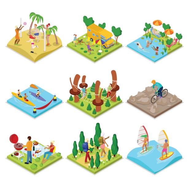 Activités de plein air isométrique. Kayak, volley-ball - Illustration vectorielle