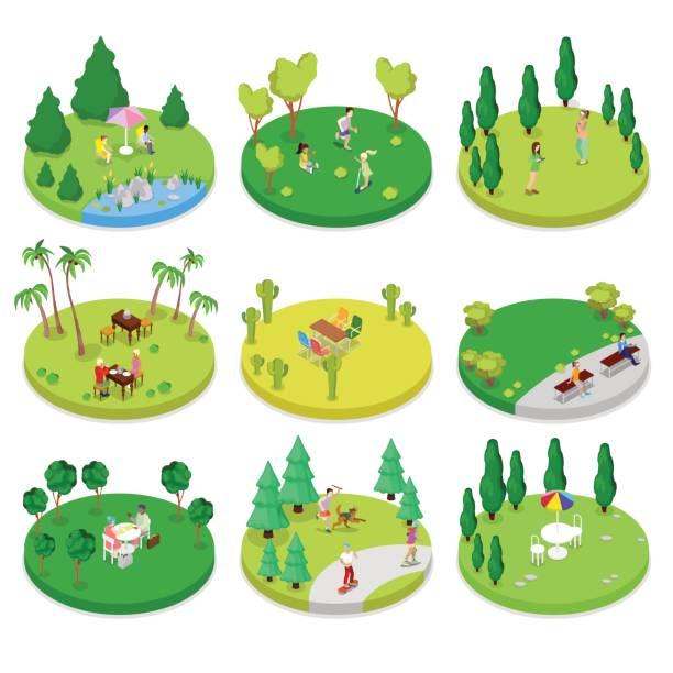 bildbanksillustrationer, clip art samt tecknat material och ikoner med isometrisk utomhus park sammansättning set - hund skog