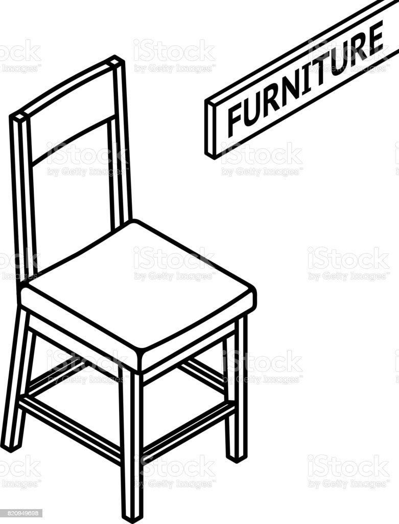 isometric outline furniture 3d line drawn isometric chair