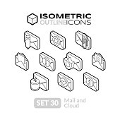 Isometric outline icons, 3D pictograms vector set 30 - Mail and cloud symbol collection