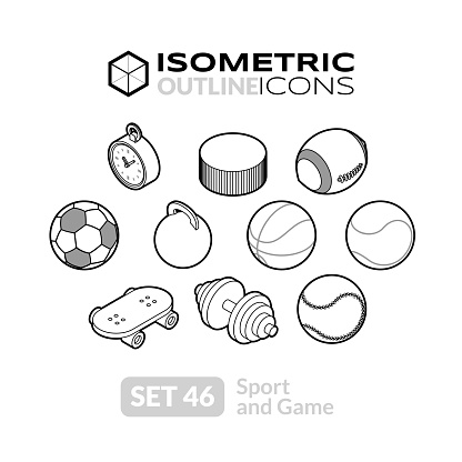 Isometric Outline Icons Set 46 Stock Illustration