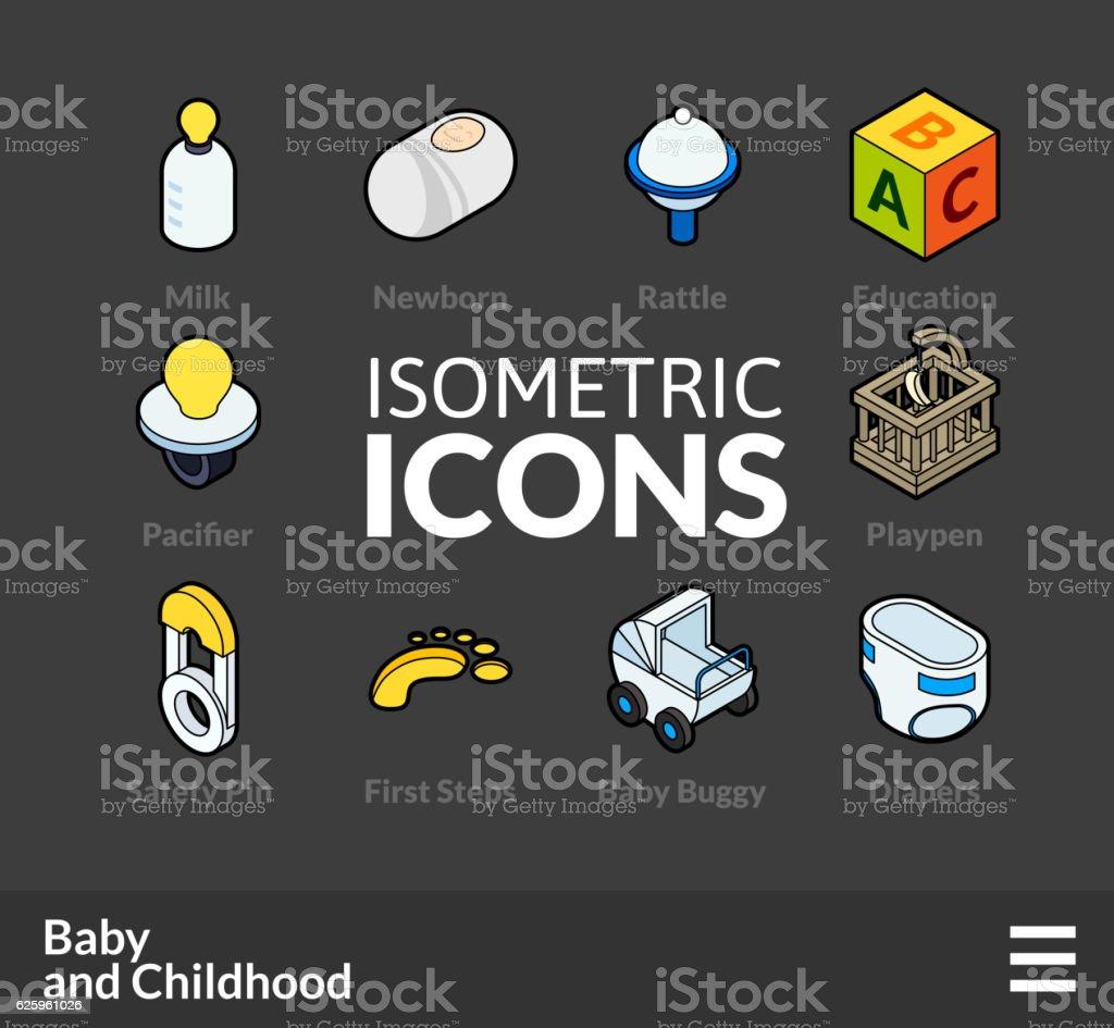 Isometric outline icons set 60 vector art illustration