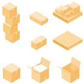 Isometric Packing Boxes with Pallet.