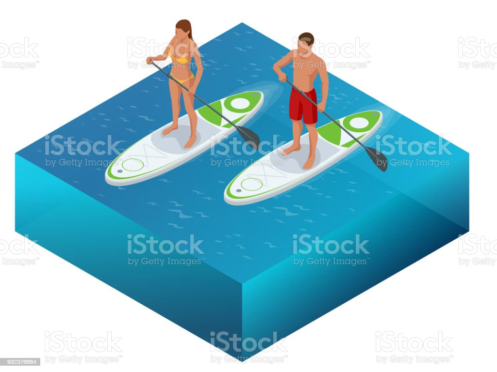 Isometrique De Paddleboard Plage Hommes Et De Femmes Sur Le Stand Up Paddle Board Planche De Surf Surf En Mer De Locean Concept De Sport De Leau Vacances Actives Avec Jury De