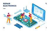 Isometric page for electronics repair service. Worker with wrench and serviceman repairing smartphone board, technician doing cellular phone data restoration. Maintenance center application,fixing app