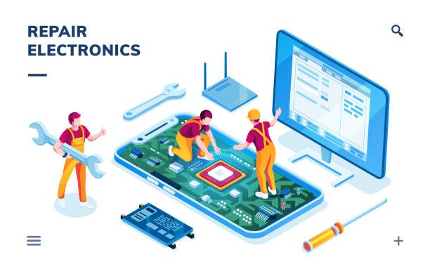 Isometric page for electronics repair service. Worker with wrench and serviceman repairing smartphone board, technician doing cellular phone data restoration. Maintenance center application,fixing app Isometric page for electronics repair service. Worker with wrench and serviceman repairing smartphone board, technician doing cellular phone data restoration. Maintenance center application,fixing app repairing stock illustrations
