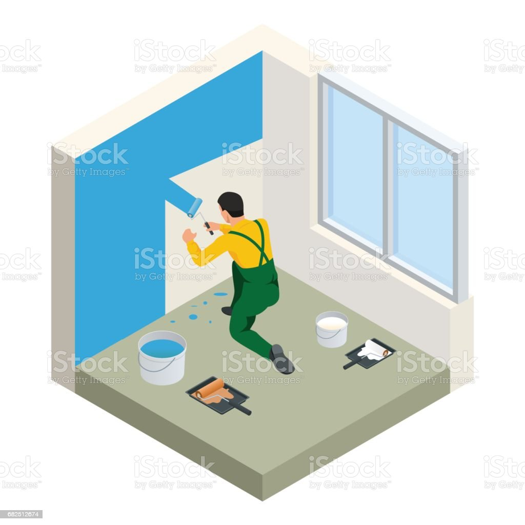 Isometric Paintroller painting white wall with roller blue paint. Flat 3d modern vector illustration. Paintroller, people occupations, profession. royalty-free isometric paintroller painting white wall with roller blue paint flat 3d modern vector illustration paintroller people occupations profession stock vector art & more images of adult