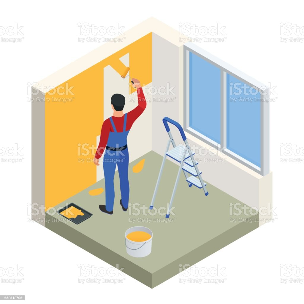 Isometric Paintroller painting white wall with roller red paint. Flat 3d modern vector illustration. Paintroller, people occupations, profession. royalty-free isometric paintroller painting white wall with roller red paint flat 3d modern vector illustration paintroller people occupations profession stock vector art & more images of adult
