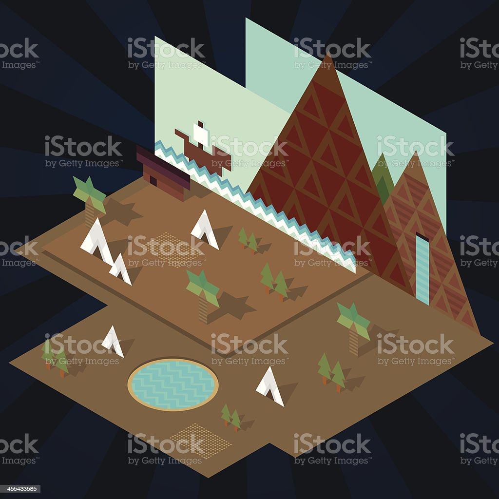 Isometric paper landscape royalty-free stock vector art