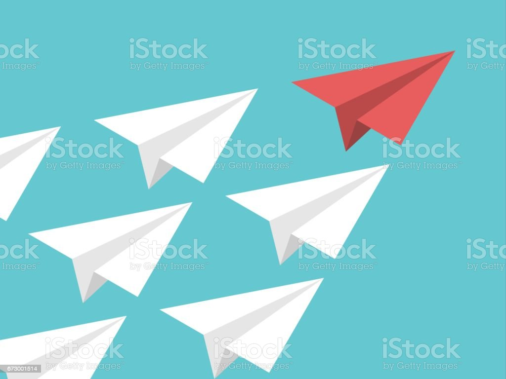 Isometric paper plane, leadership vector art illustration