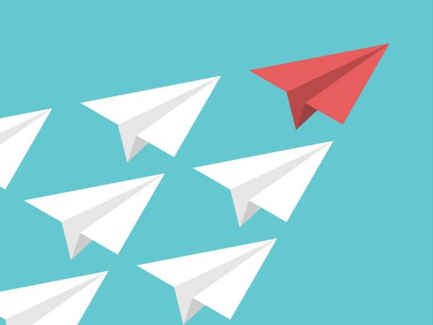 isometric paper plane, leadership - leadership stock illustrations