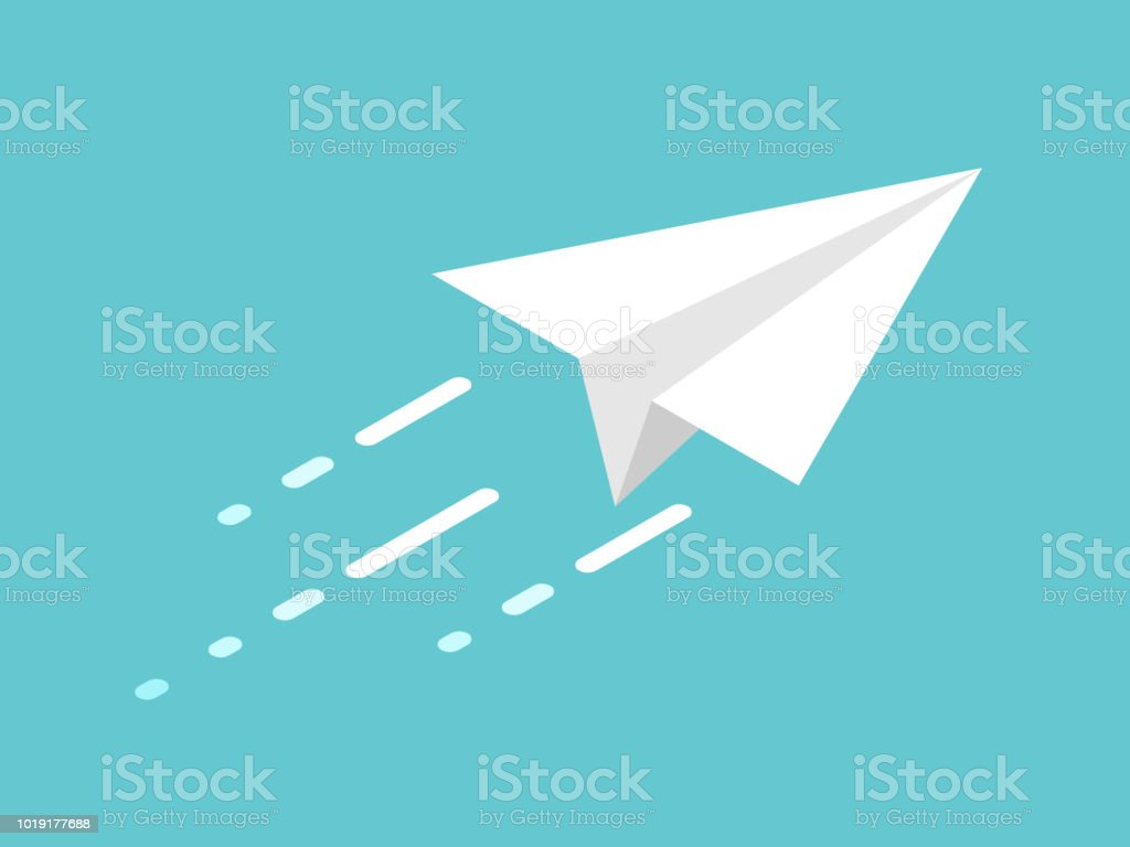 Isometrische Papierflieger, Bewegung – Vektorgrafik