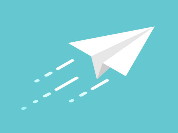 Isometric paper plane, movement Isometric white paper plane moving on turquoise blue background. Start up, freedom and dream concept. Flat design. Vector illustration, no transparency, no gradients paper airplane stock illustrations