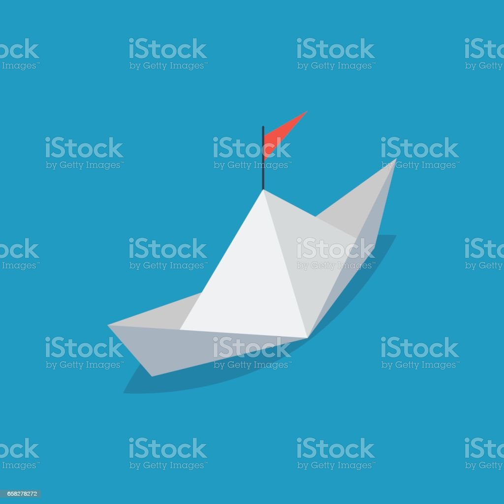 Isometric paper ship with a red flag vector art illustration