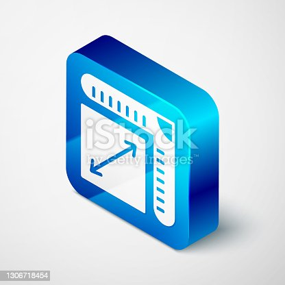 istock Isometric Paper size icon isolated on grey background. Blue square button. Vector 1306718454